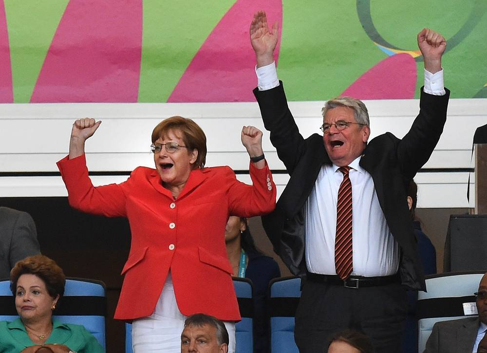Angela Merkel and Joachim Gauck celebrate Germany's victory at the World Cup in Brazil on July 13, 2014