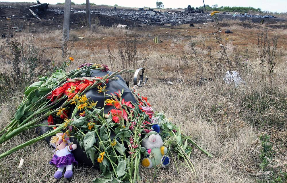 Flowers and soft toys on the ground at the main crash site of the Boeing 777 Malaysia Airlines flight MH17