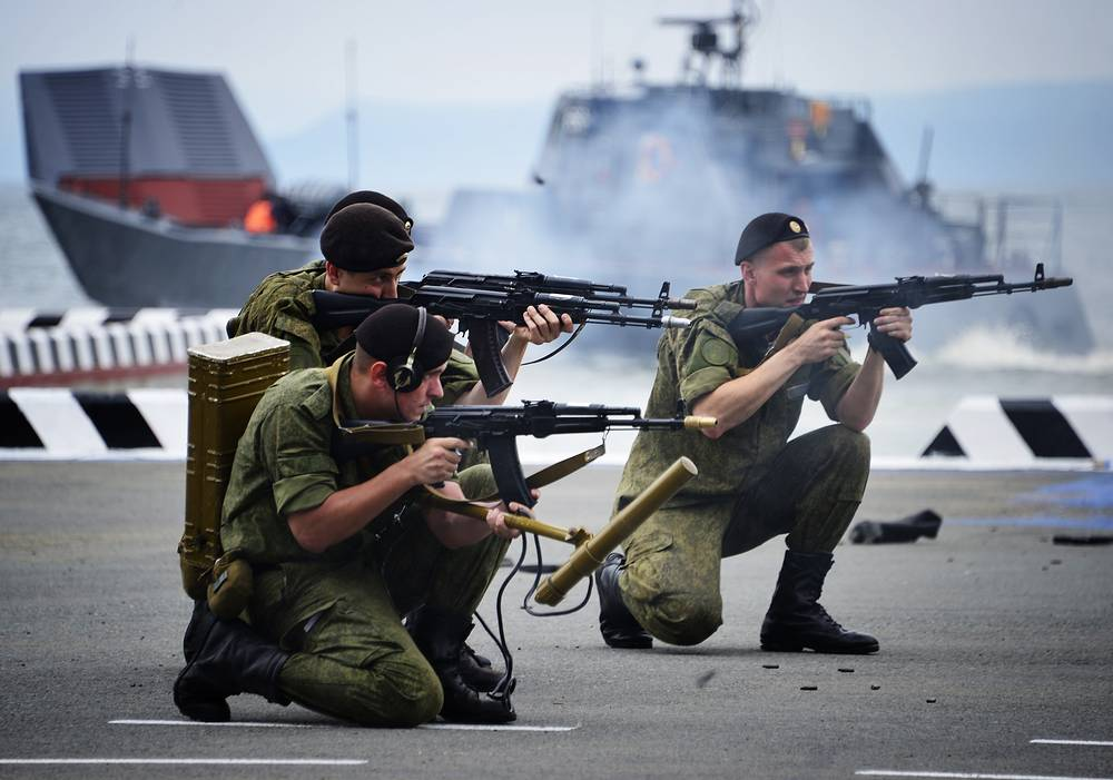 Russian marines seen during rehearsal