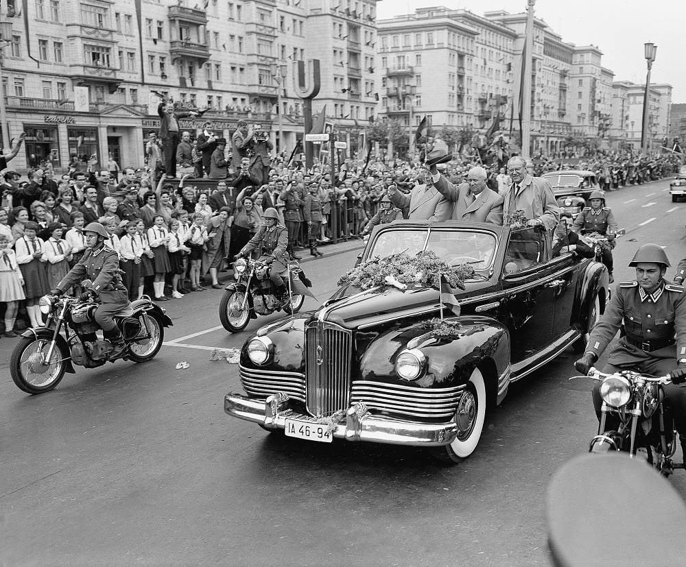 Other Soviet leaders used mostly domestically produced cars. Nikita Khrushchev was driven in a ZIL-111 or a ZIL-111B (convertible). Photo: Nikita Khrushchev in Berlin, 1960