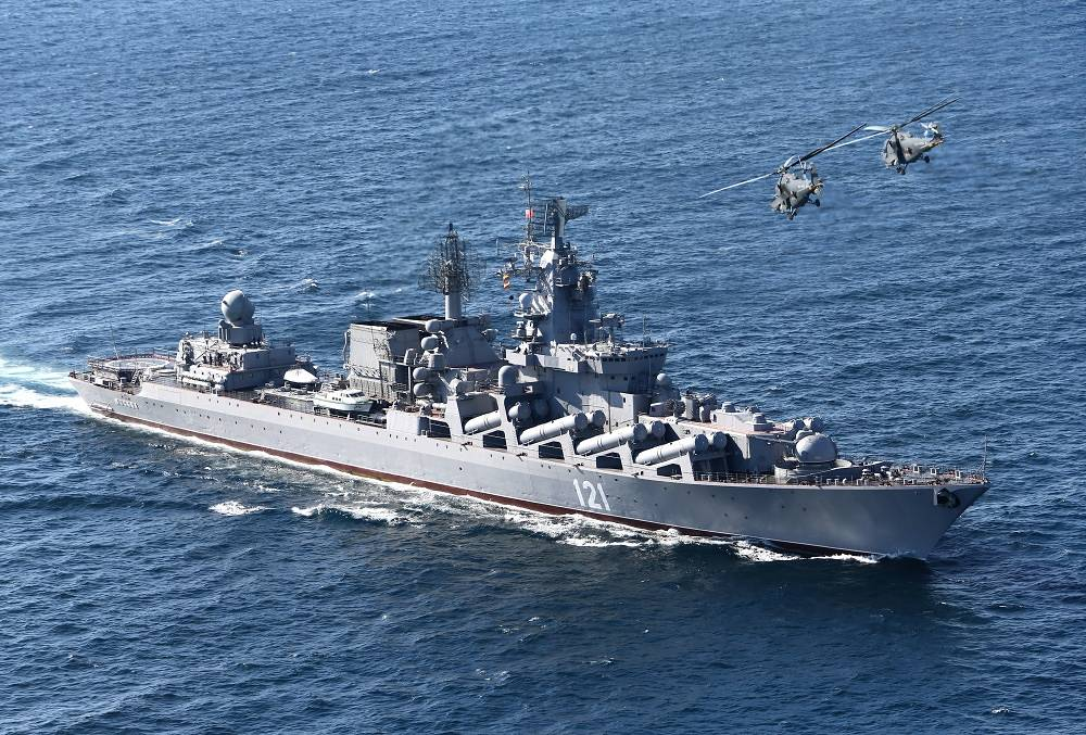Flagship of Russia's Black Sea Fleet guided missile cruiser Moskva
