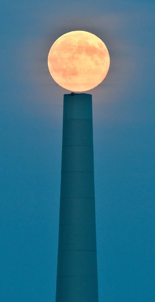 Full moon seen near Sieversdorf in Germany
