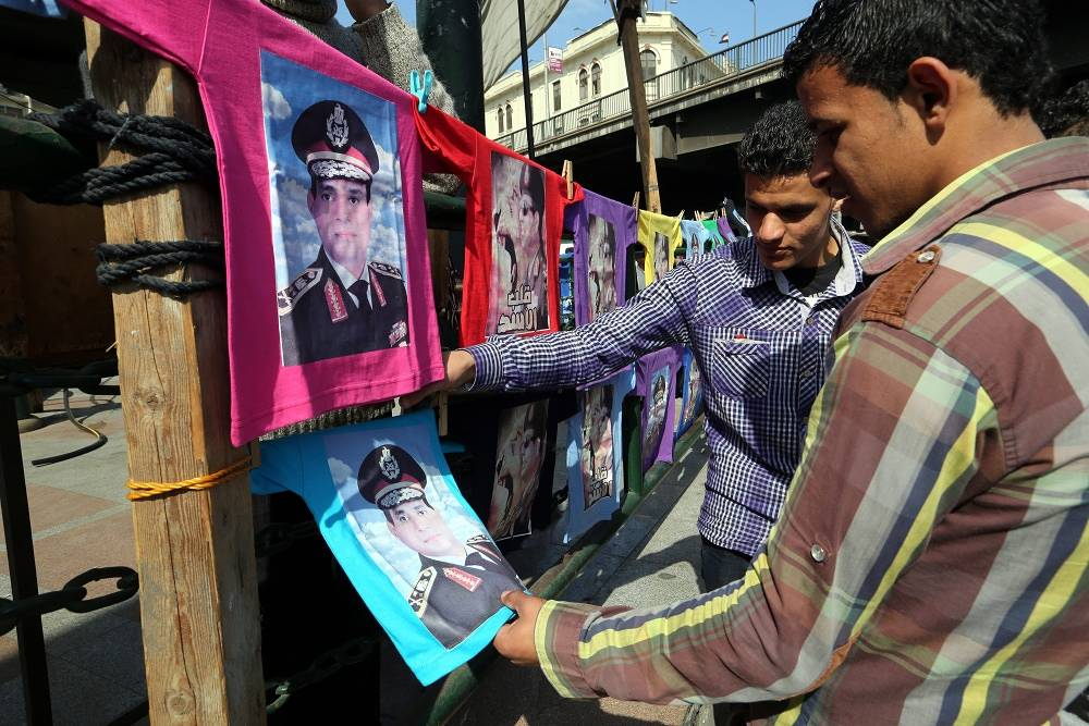T-shirts depicting Egypt's President Abdel Fattah el-Sisi at a market in Cairo