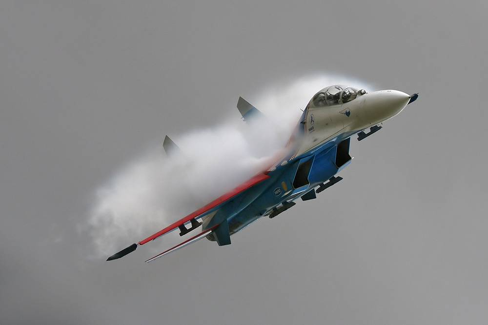 The Sukhoi Su-27  is a twin-engine supermaneuverable fighter aircraft. It's the Su-27 that is used by Russia's major aerobatic teams: Sokoly Rossii (Falcons of Russia) and Russkiye Vityazi (Russian Knights)