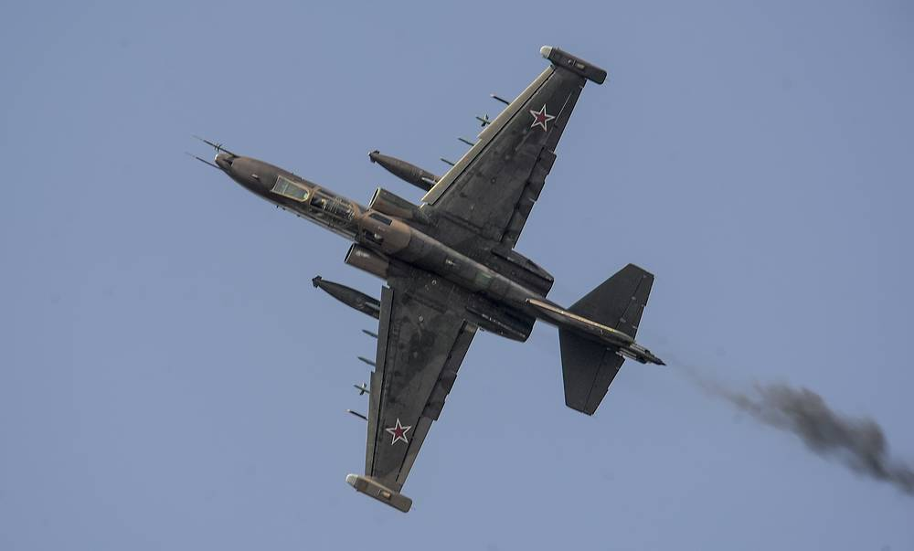 A Su-25 attack aircraft performs during the Russian Air Force Day celebration
