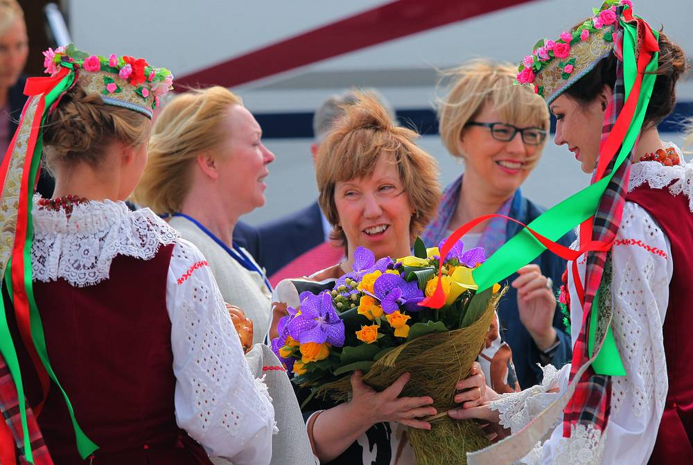 European Union High Representative for Foreign Affairs and Security Policy Catherine Ashton arrives in Minsk