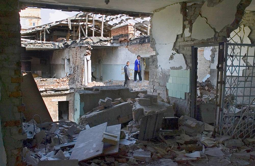 A destroyed classroom in the school on October 7, 2005