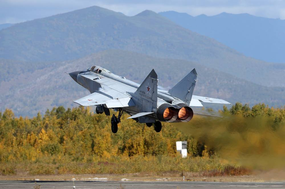 MiG-31war plane seen during the military drills