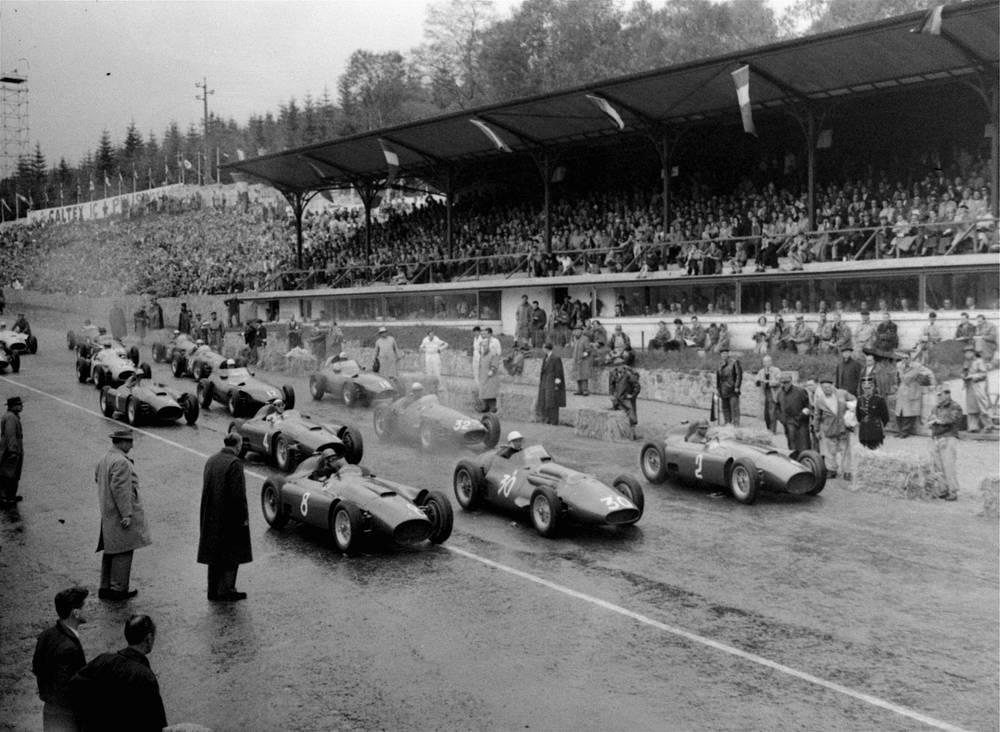 The Circuit de Spa-Francorchamps which is a favourite circuit of many racing drivers and fans. Photo: The start of the Francorchamp Grand Prix in Belgium, June 3, 1956