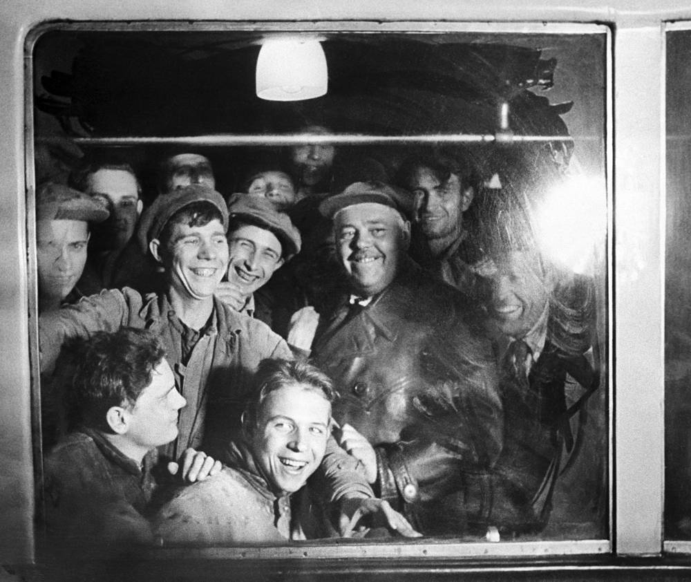 Opened in 1935 with one 11-kilometre line and 13 stations, it was the first underground railway system in the Soviet Union. Photo: Passengers take a train going on the first line of the Moscow Metro, 1935