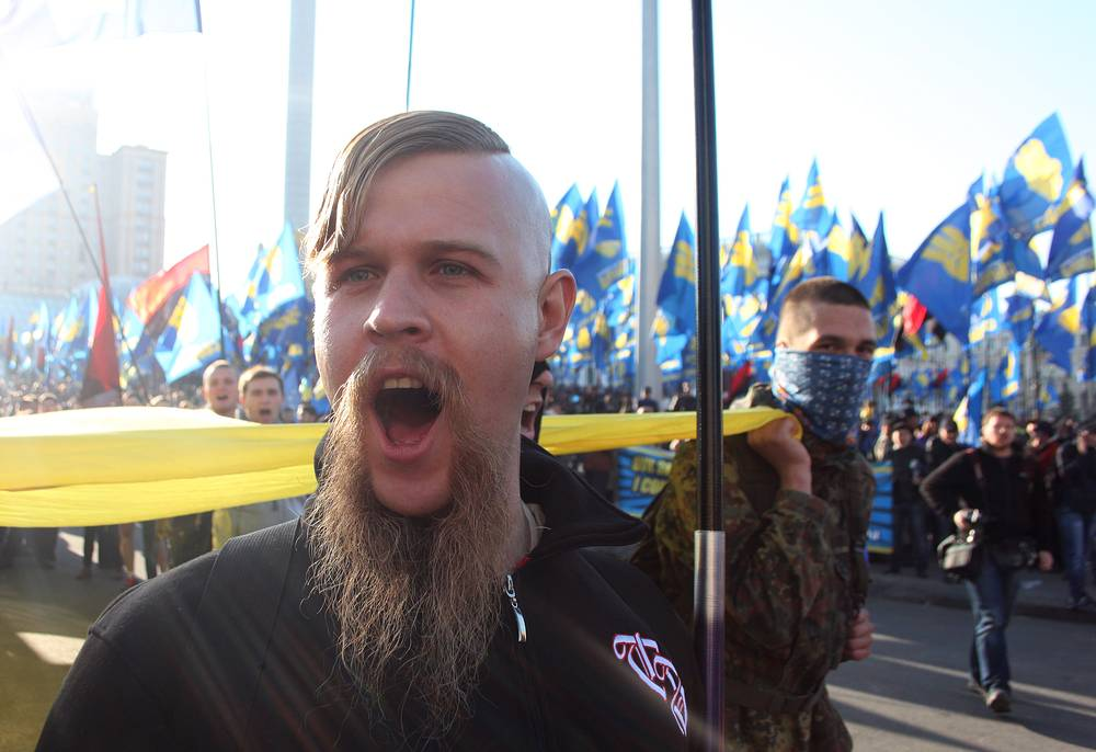 Radical nationalist party Svoboda member