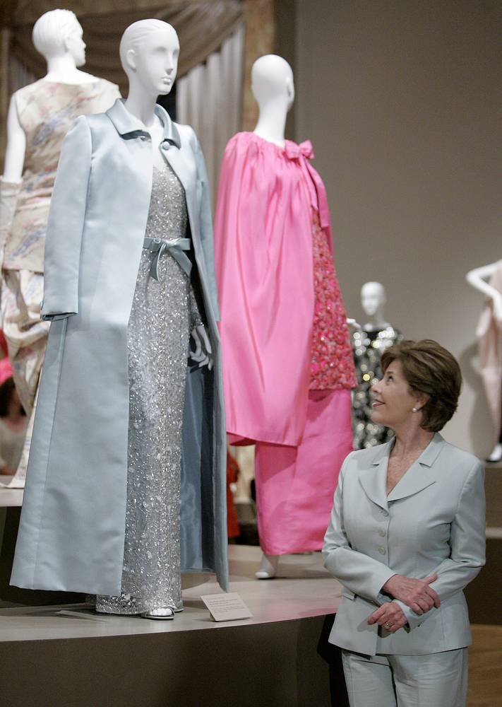 Photo: Laura Bush views the dress designed for her by Oscar de la Renta that she wore to the 55th Presidential Inaugural Balls in Washington D.C., May 26, 2007
