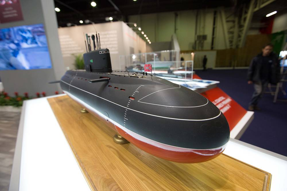 Project 877EKM diesel-electric submarine on display at the stand of Russian United Shipbuilding Corporation