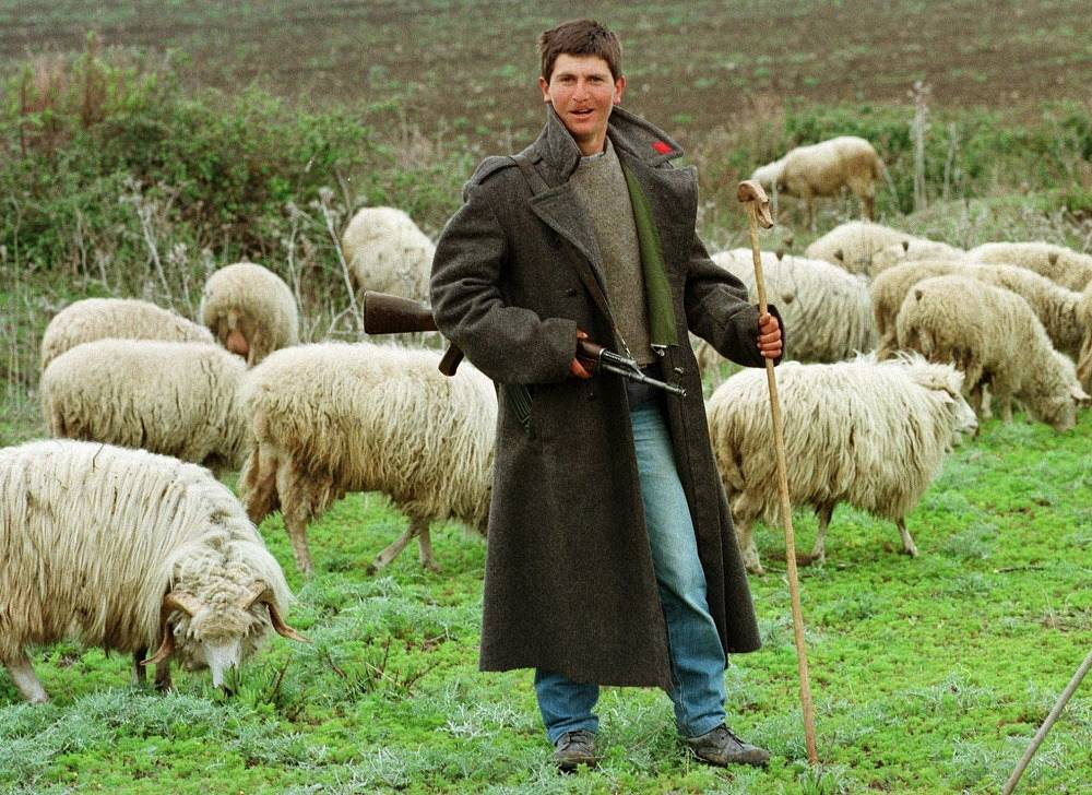 Photo: A herdsman holds a Kalashnikov rifle in southern Albania, 1997
