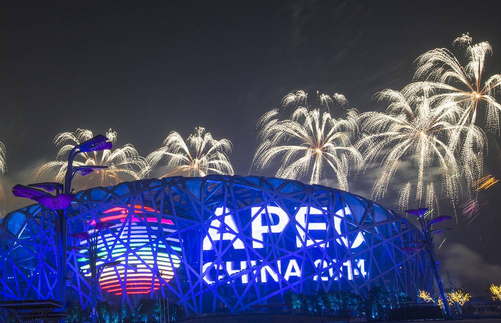Fireworks lit up the sky over the National Stadium, known as the Bird's Nest in Beijing as the first day of the Asia Pacific Economic Co-operation summit came to its end
