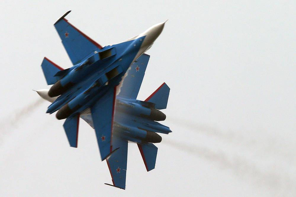 The Russkiye Vityazi (Russian Knights) aerobatic team performed a demonstration flight at China International Airshow in Zhuhai