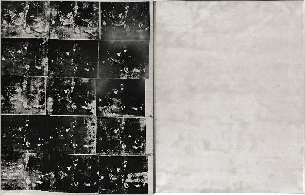 """Andy Warhol's """"Silver Car Crash"""" was sold for $104.5 million at Sotheby's auction in 2013. The silkscreen print with multiple photos of the aftermath of a car which collided into a tree is part of Warhol's """"Death and Disaster"""" series"""