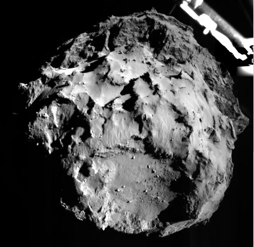 Photo: Comet 67P/CG pictured by ROLIS instrument on the Philae lander during descent from a distance of approximately 3 km on November 12, 2014. ROLIS (ROsetta Lander Imaging System) is a descent and close-up camera on the Philae Lander