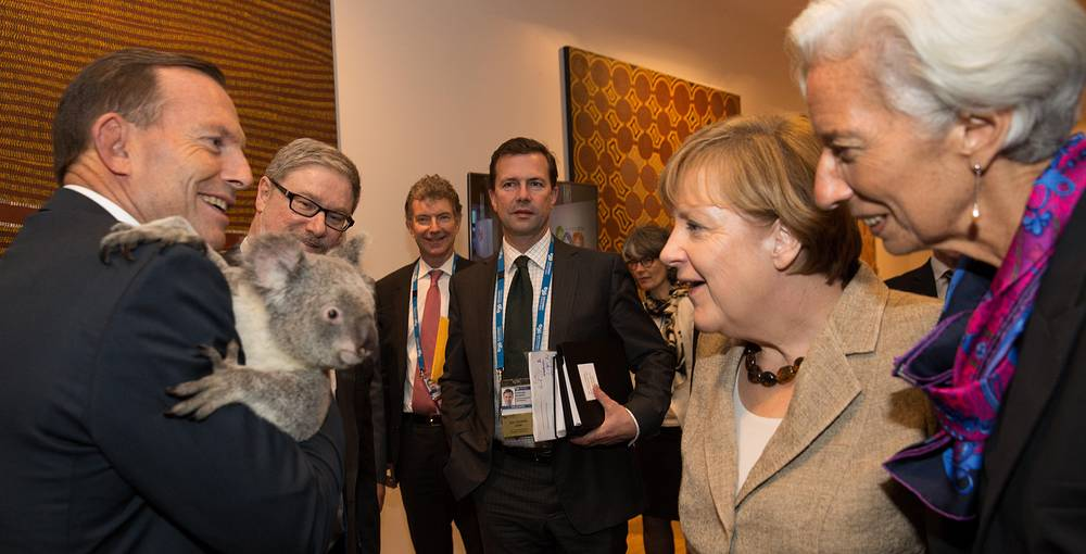 Photo: Australia's Prime Minister Tony Abbott, German Chancellor Angela Merkel and Managing Director of the IMF Christine Lagarde