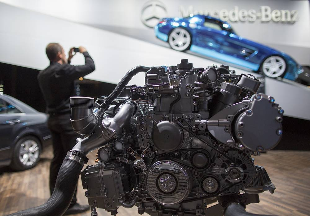 Mercedes-Benz hybrid engine displayed at the stand at the Paris Motor Show 'Mondial de l'Automobile' in Paris