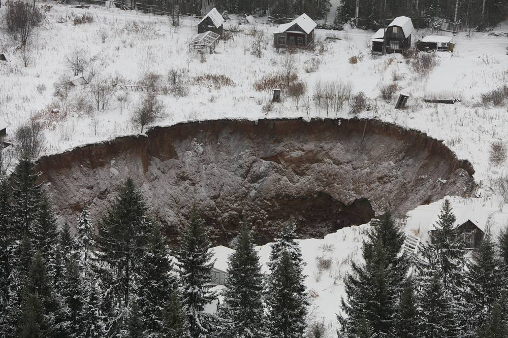 Photo: A sinkhole measuring 20 by 30 meters at the Solikamsk-2 mine