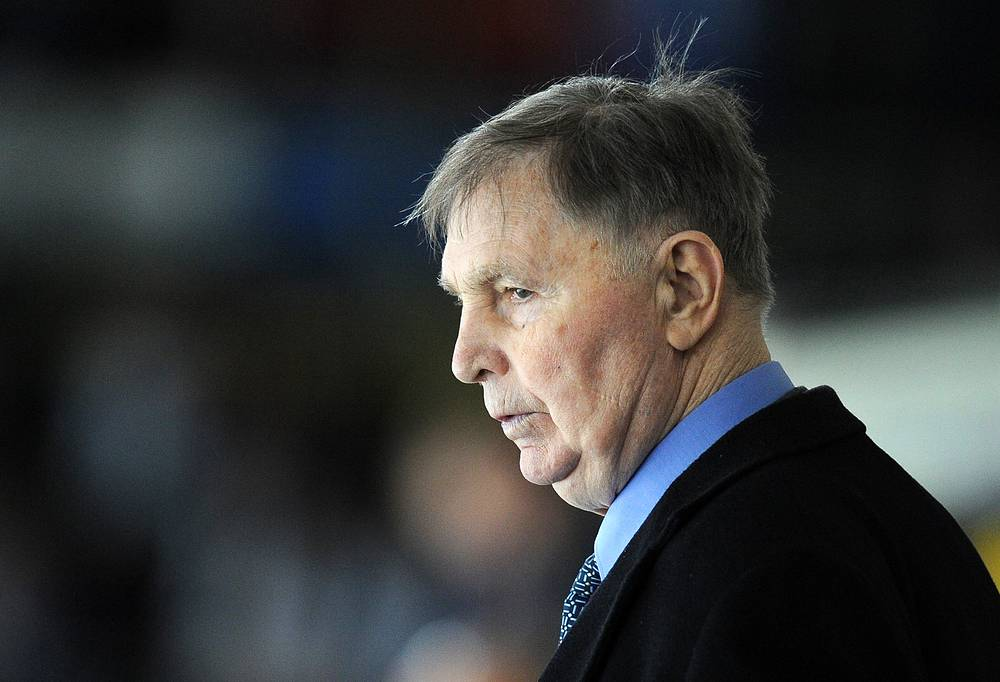 Hockey coach Viktor Tikhonov at a KHL Gagarin Cup semi-final game, 2012