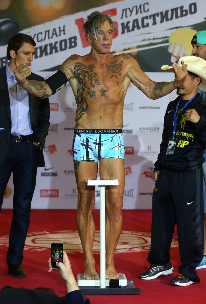 Rourke said he had lost 15 kilos ahead of this boxing match. Photo: American actor and boxer Mickey Rourke at an official weigh-in ceremony ahead of a boxing match against Elliot Seymour