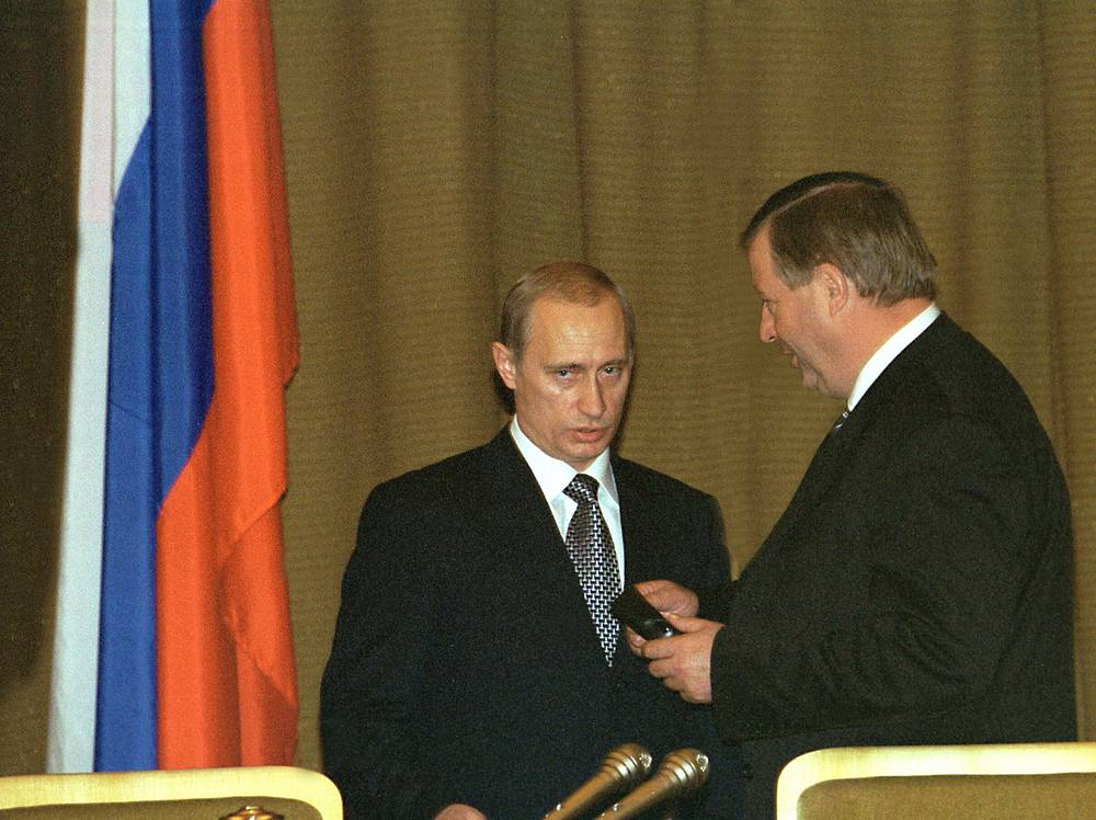 Vladimir Putin delivered his first state-of-the-nation address in July 2000. In his 48-minute speech the newly elected president spoke about Russia's demographic problems and the fight against shadow economy. Photo: Vladimir Putin and State Duma Speaker Gennady Seleznyov. July 8, 2000