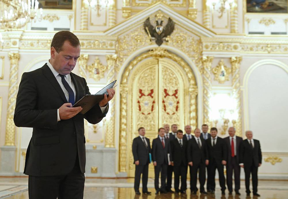 Russian Prime Minister Dmitry Medvedev after a meeting of the Russian State Council in the Kremlin