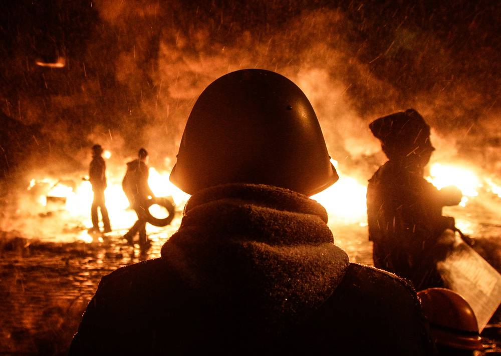 Protests in downtown Kiev