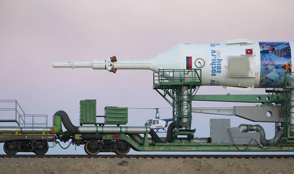 Soyuz rockets are the only providers of transport for astronauts at the International Space Station. Photo: Sochi Winter Olympic Games branded Soyuz FG rocket booster