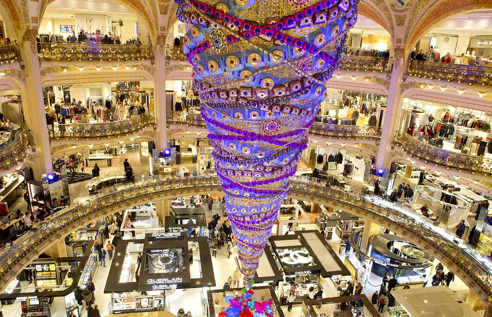 An inverted Christmas tree in the department store Galeries Lafayette in Paris, France