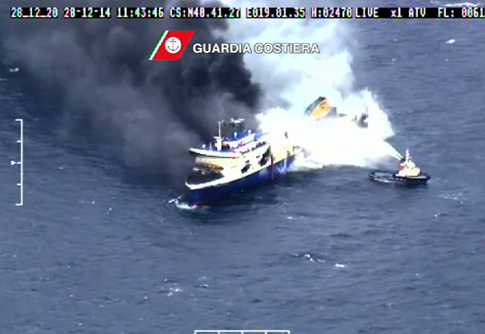 "Italy said that the fire-fighting operation was over on board the ferry, but Greece only officially confirmed that ""the fire was contained and put under control"
