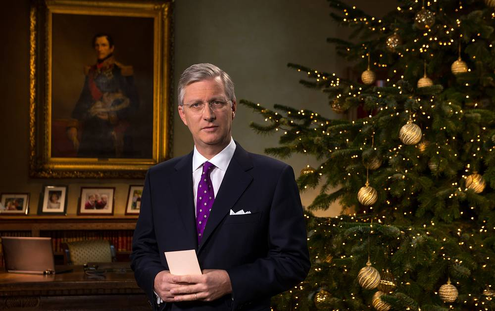 Belgium's King Philippe delivering his traditional Christmas speech at the Royal Palace in Brussels, 20 December , 2013