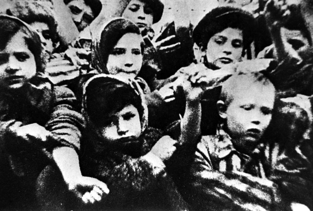 Children, the few remaining survivors of the Auschwitz-Birkenau concentration camp after their liberation by the Soviet army