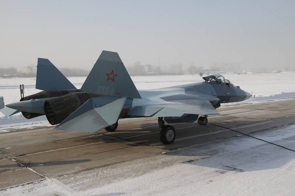 A Sukhoi PAK FA (T-50) before a take off
