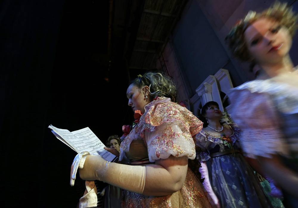 Actresses with the Donbas Opera Theater prepare to perform Eugene Onegin in Donetsk, Ukraine