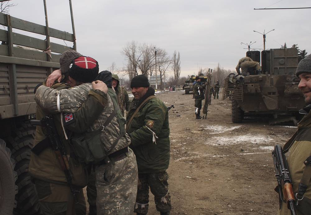 Militia fighters in Debaltsevo, Feb. 19