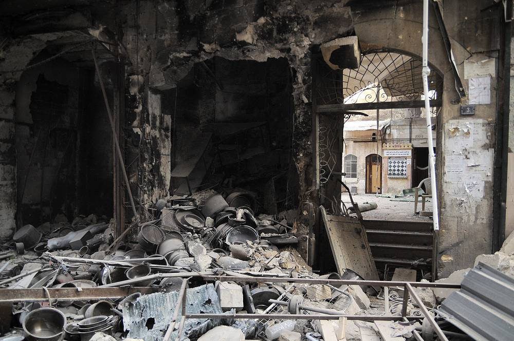 More than 290 objects of cultural value in Syria, which are on the UN list of world cultural heritage, were either damaged or destroyed during the civil war in Syria. Photo: A destroyed pottery shop inside the Old City of Aleppo, Syria, a listed UNESCO World Heritage Site