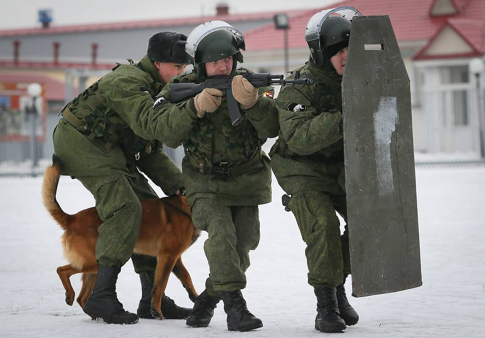 The ready for the assault. The task of a service dog is to immobilize the enemy and give the opportunity of capturing him alive