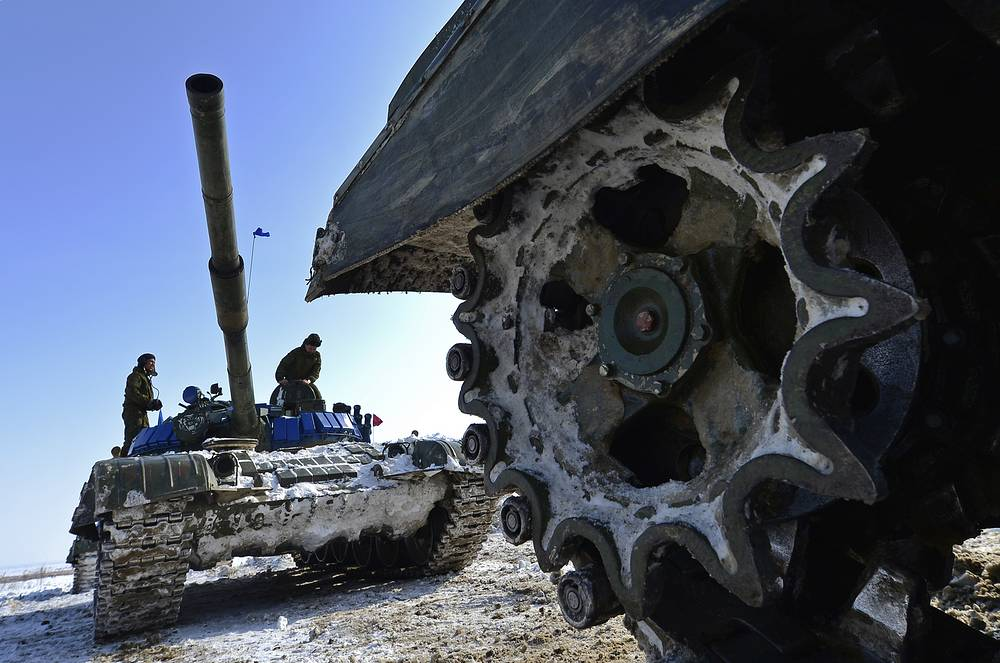 Tank crews compete in an individual race of tank biathlon competition in Khabarovsk region