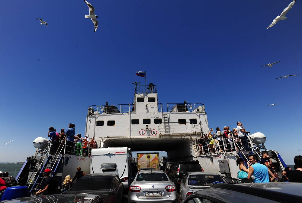 Work to integrate the Crimean Peninsula into Russia's economic, financial, credit, legal, state power, military conscription and infrastructure systems is actively underway now in Crimea. Photo: Kerch ferry in the port Crimea