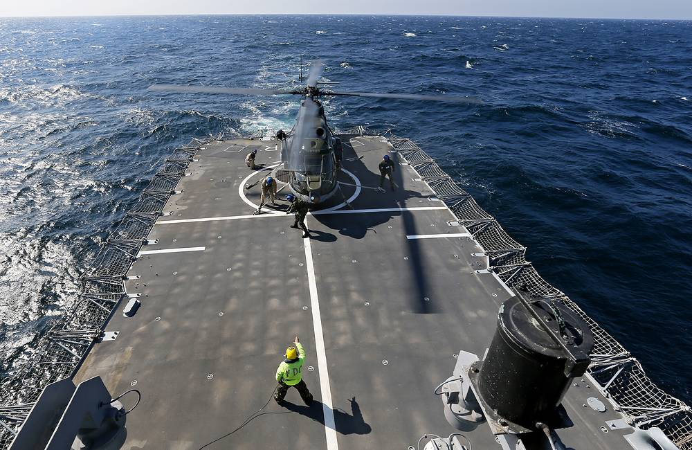 A Romanian military helicopter on board of Romanian frigate Regina Maria
