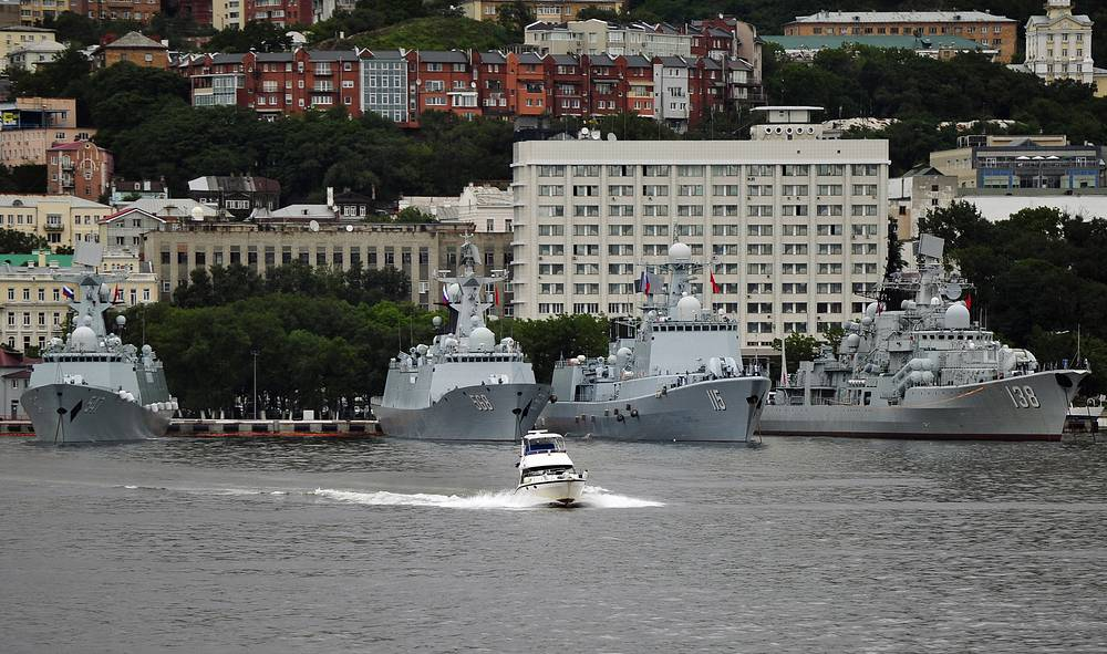 The first phase of the exercises in the Mediterranean involved around ten Russian and Chinese warships, including the guided missile cruiser The Moskva