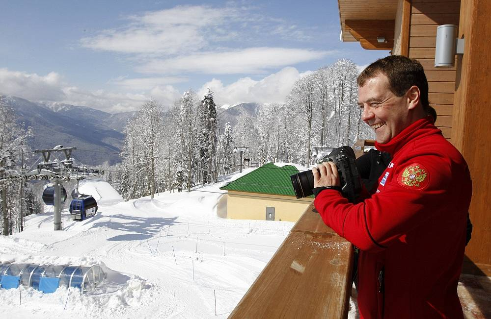 The Russian prime minister at a ski resort near the Russian city of Sochi, March 8, 2012