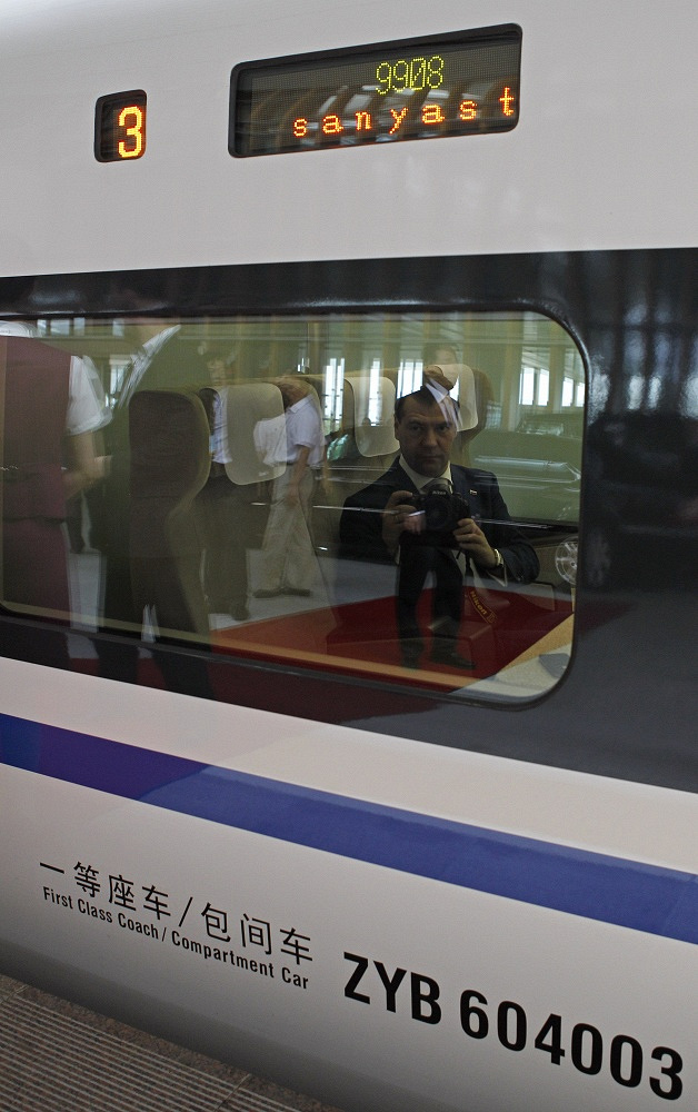 Dmitry Medvedev on a train on his way to the Asian forum, 2011