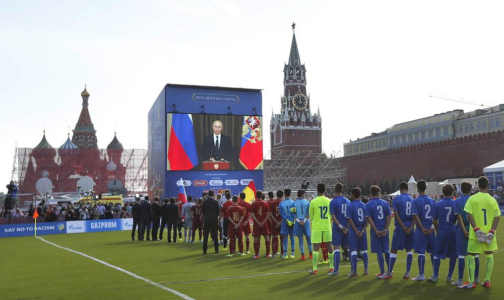 On September 18, Russia's President Vladimir Putin in a TV link-up addressed a ceremony in Moscow's Red Square marking the 1000-day countdown to the 2018 FIFA World Cup in Russia