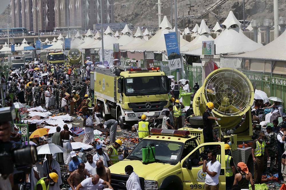 A source at Saudi Arabia's Civil Defense Directorate said that the stampede had been caused by a collision of two flows of pilgrims who were heading from a tent camp for a place of common prayer on the first day of Eid al-Adha