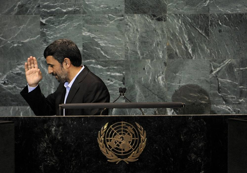 """During his speeches at the UN Iranian President Mahmoud Ahmadinejad not only to spoke out strongly against Israel, but also called the September 11 attacks on the US a """"big fabrication"""""""