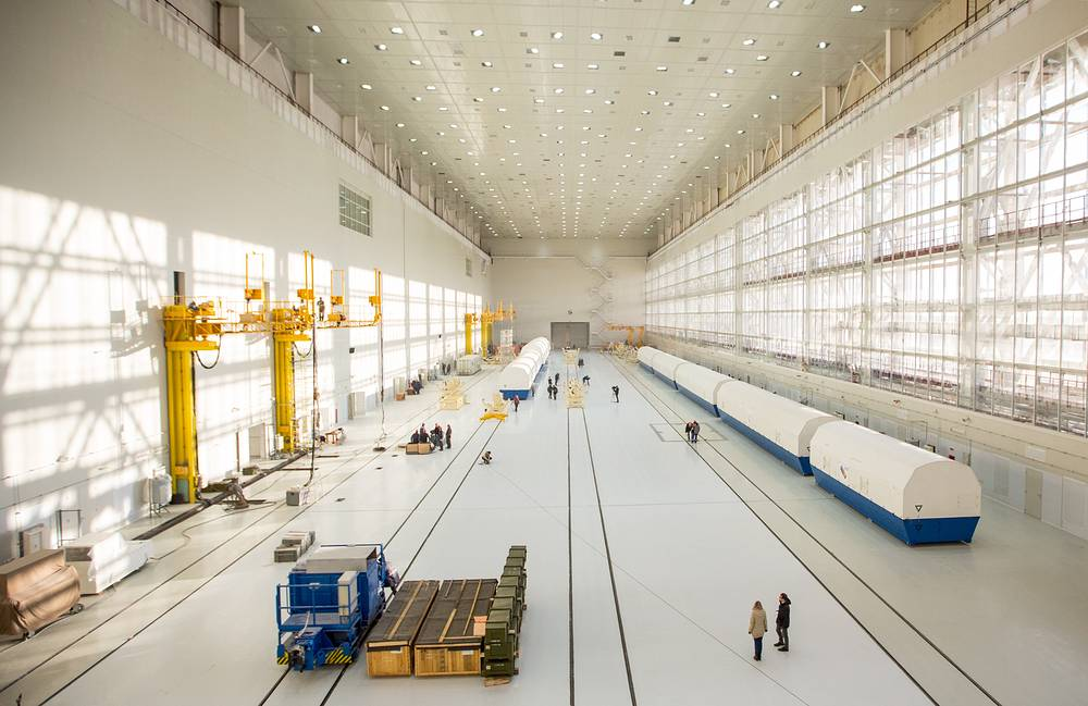 Sections of a Soyuz rocket at the Assembly and Testing Facility at Vostochny Cosmodrome